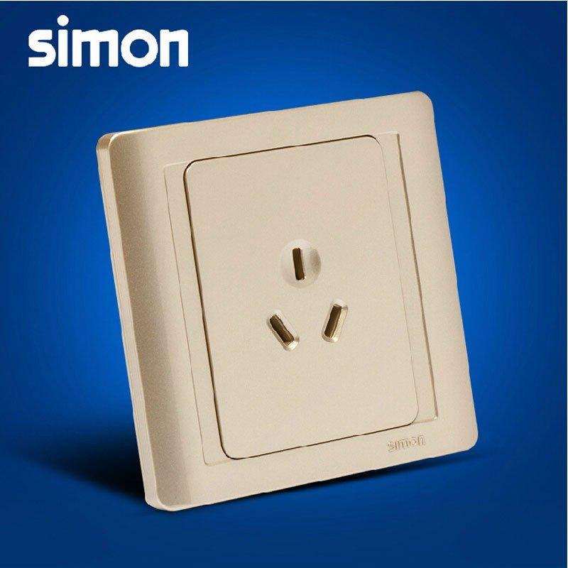 西蒙正品开关插座面板55系列面板香槟金色10a三孔插座