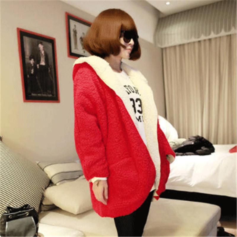 韩文2017秋冬韩版卫衣女学生两面穿宽松带帽加厚加绒外套-潮-n147