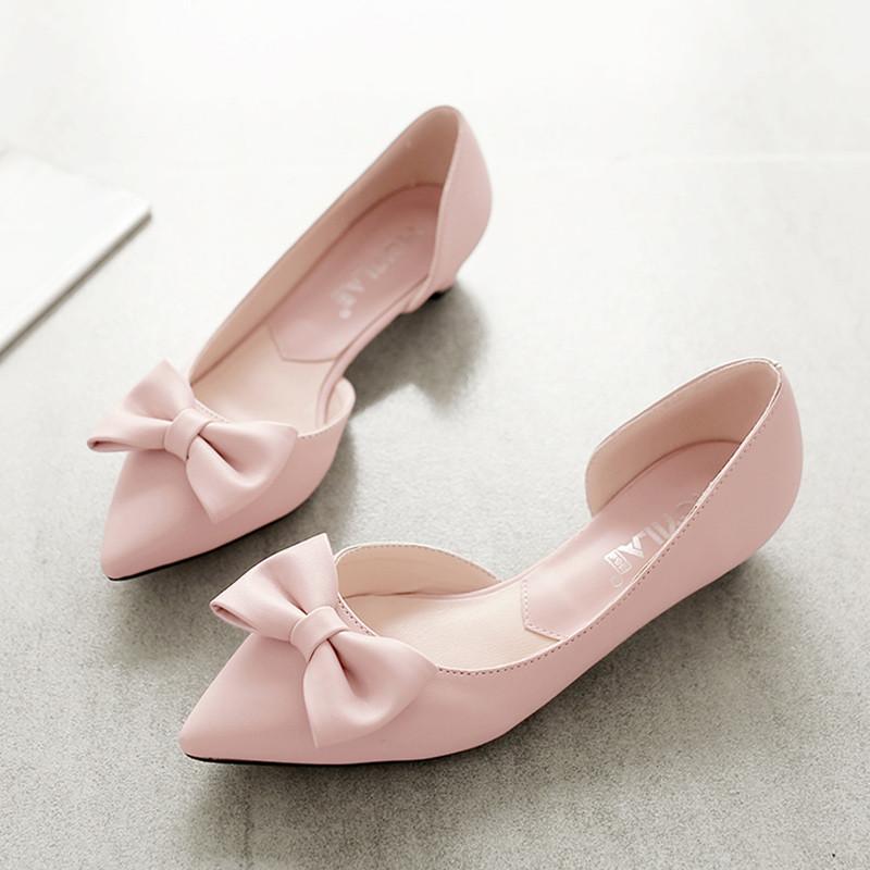 2016夏季新款甜美蝴蝶结尖头平底鞋舒适低跟女鞋百搭浅口单鞋