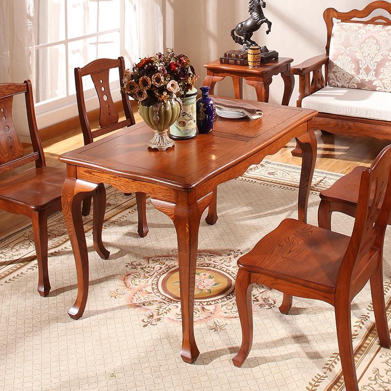 餐桌 饭桌 实木餐桌 小户型餐桌 桌子 简约欧式餐桌椅组合 白橡木餐桌