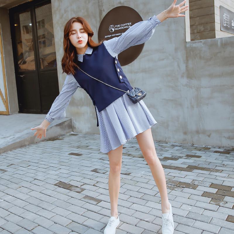 佐露丝春装2017新款长袖连衣裙女韩版显瘦马甲+条纹衬衫裙套装裙两件图片
