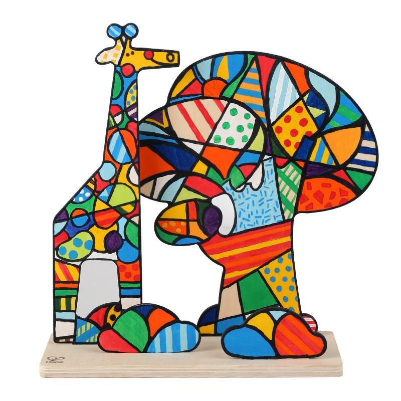 德国hapee5109diy立体涂鸦画-梦幻丛林儿童趣味创意立体涂鸦画图片