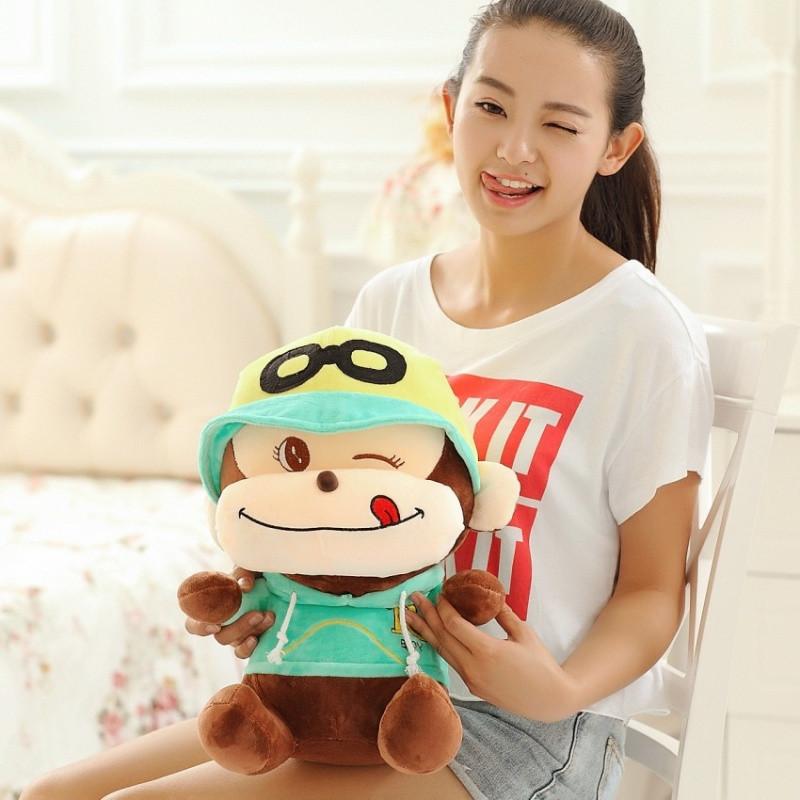 可爱戴帽子眼镜猴子悠嘻猴 情侣猴子毛绒玩具布娃娃送
