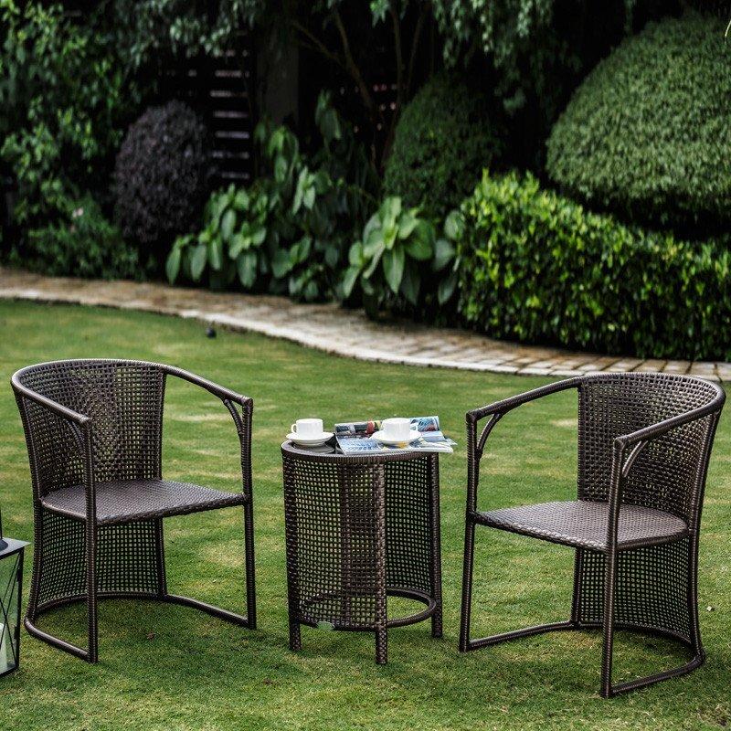 紫灿阳台桌椅藤椅圆茶几休闲椅庭院户外家具组合藤椅子