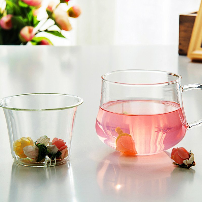 渊之源玻璃杯内胆茶杯耐热过滤花草泡茶透明带盖三件式女士玻璃水杯子