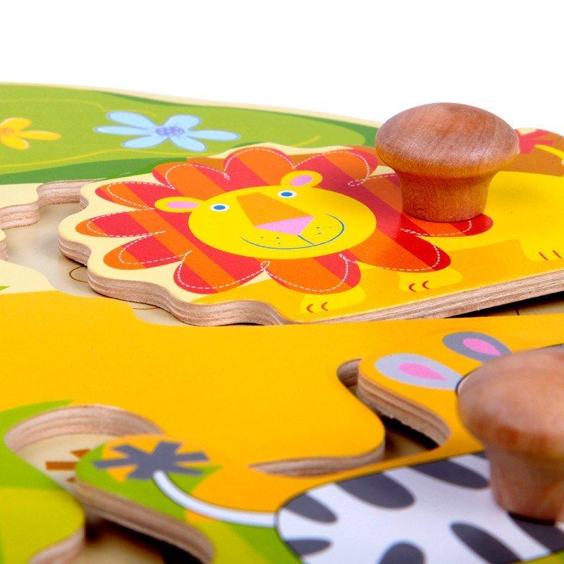 认知手抓板木质拼图动物拼板嵌板木制益智 认知动物形状配对手抓板