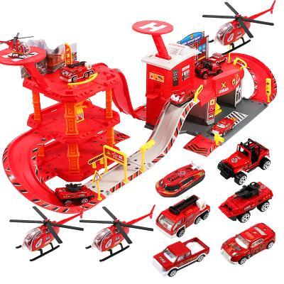 儿童停车场轨道车玩具 警察消防工程车合金车模型轨道3-6岁 速翔玩具