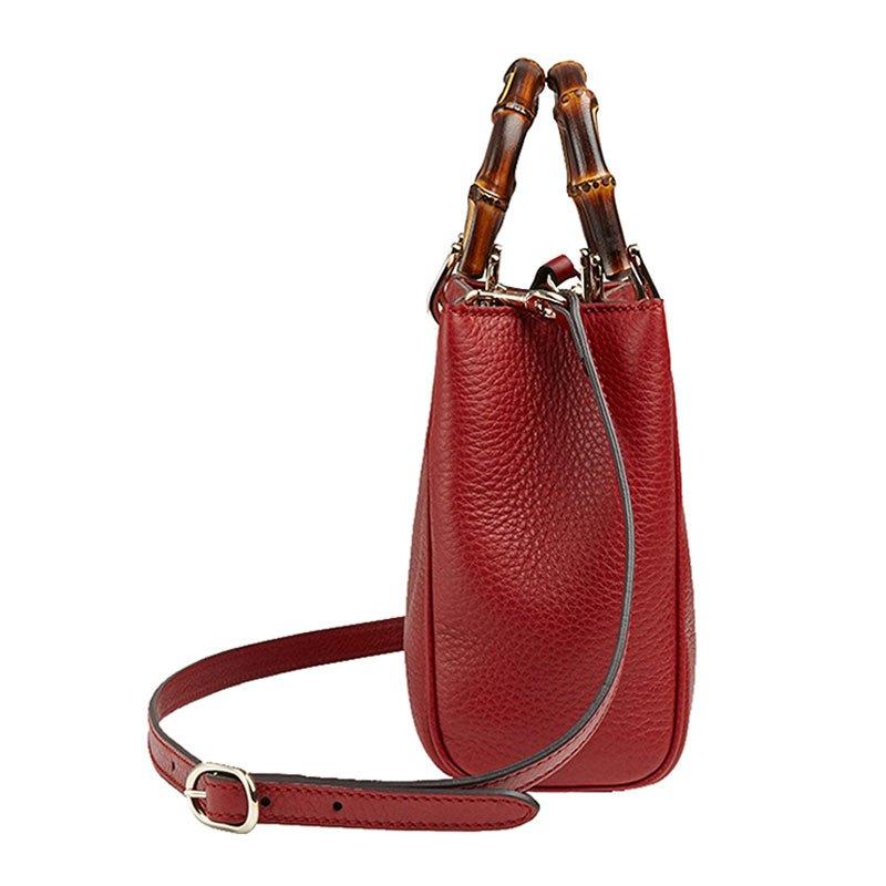 gucci 古驰深红色竹节提手女士牛皮迷你两用手提包 368823 .