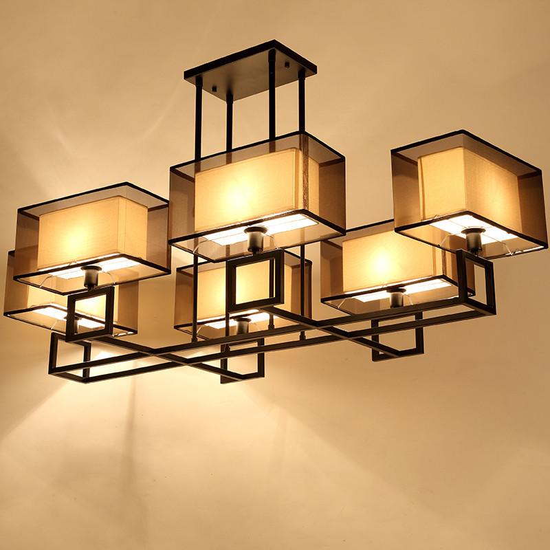 新中式吊灯 现代中式客厅灯餐厅灯创意时尚铁艺吊灯 黑色大号可伸缩yd