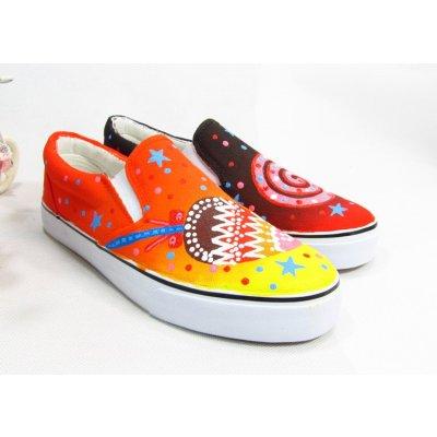 牛牛手绘 新款手绘儿童帆布鞋低帮女童球鞋 夏季小孩亲子运动鞋休闲