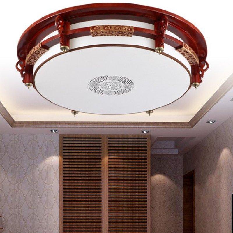 实木圆形大气客厅灯中式led灯具现代羊皮酒店餐厅祥云图片