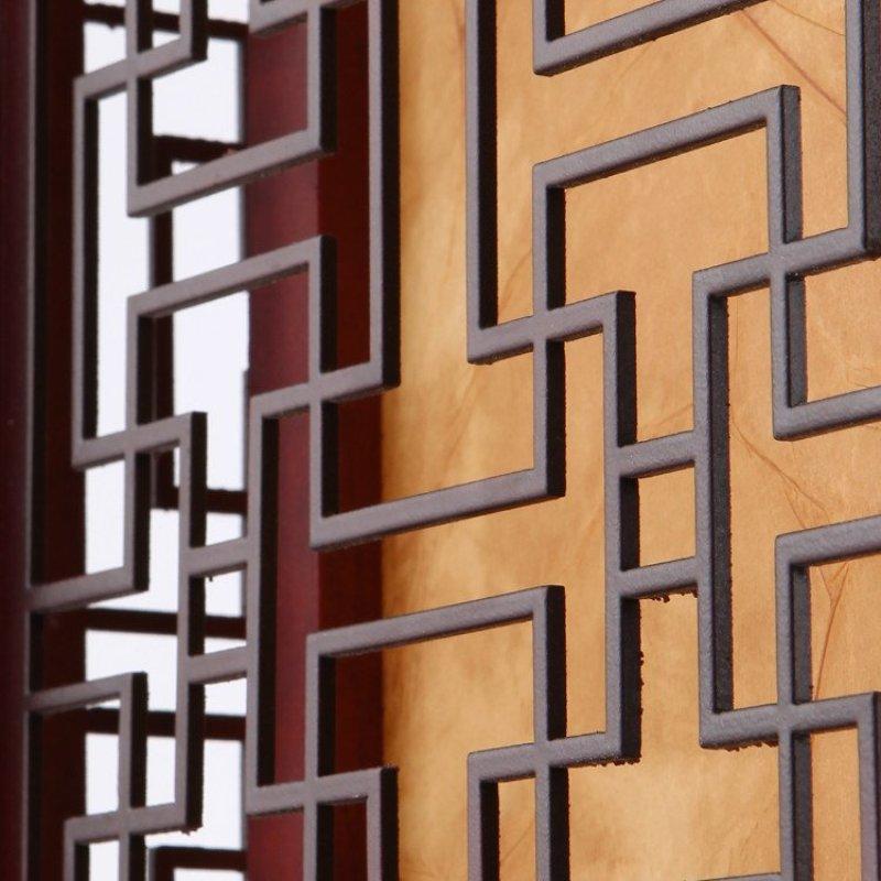 方形中式吊灯实木羊皮餐厅茶楼雕花灯具仿古吧台走廊过道吊灯3037