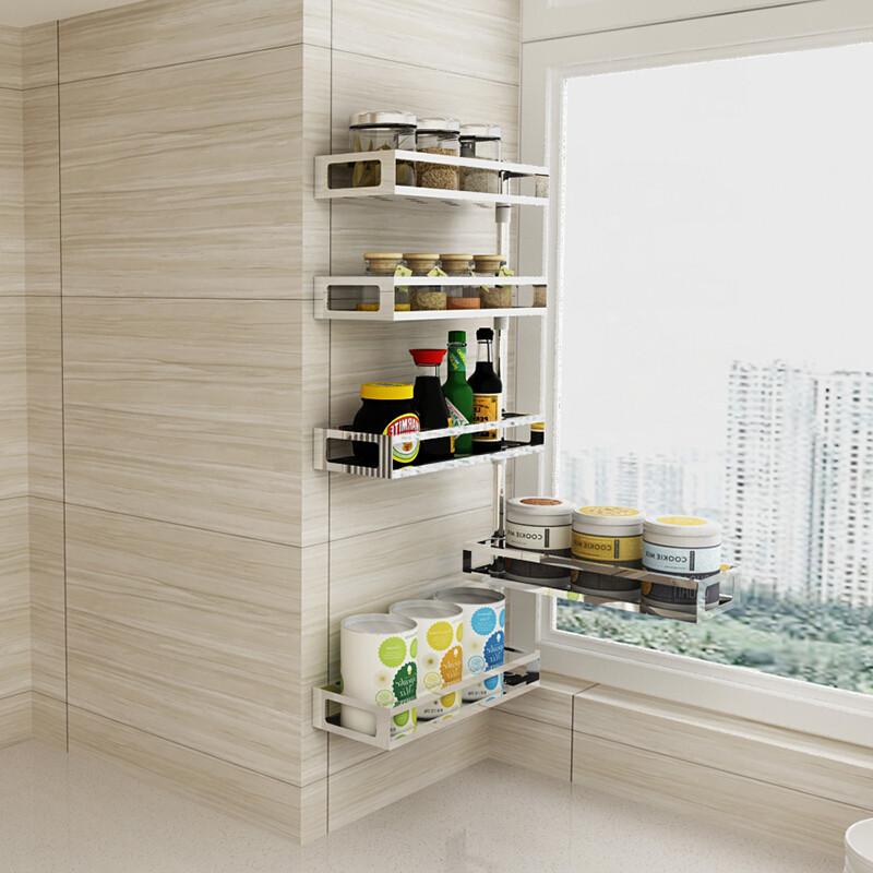 格维朗 304不锈钢免打孔厨房转角置物架壁挂收纳调味料佐料架子挂件用