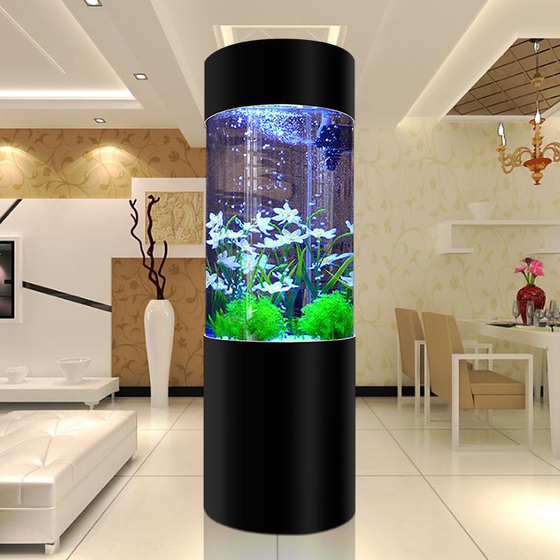 汉霸亚克力圆柱鱼缸 中型生态圆柱形鱼缸 圆形上过滤水族箱