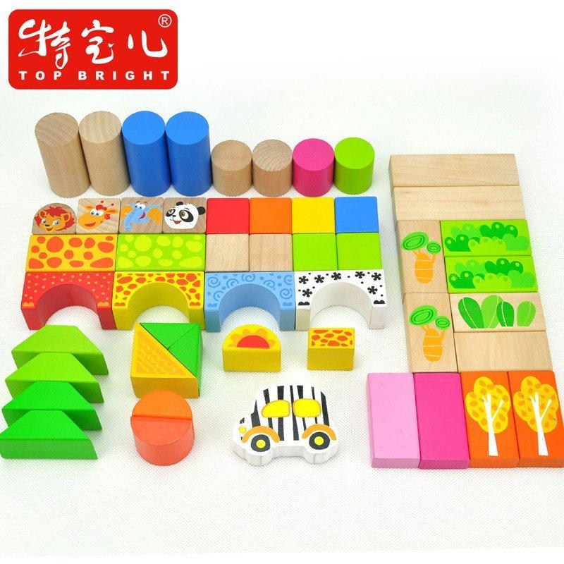 特宝儿50粒森林动物积木木制儿童益智木制积木玩具宝宝玩具木质