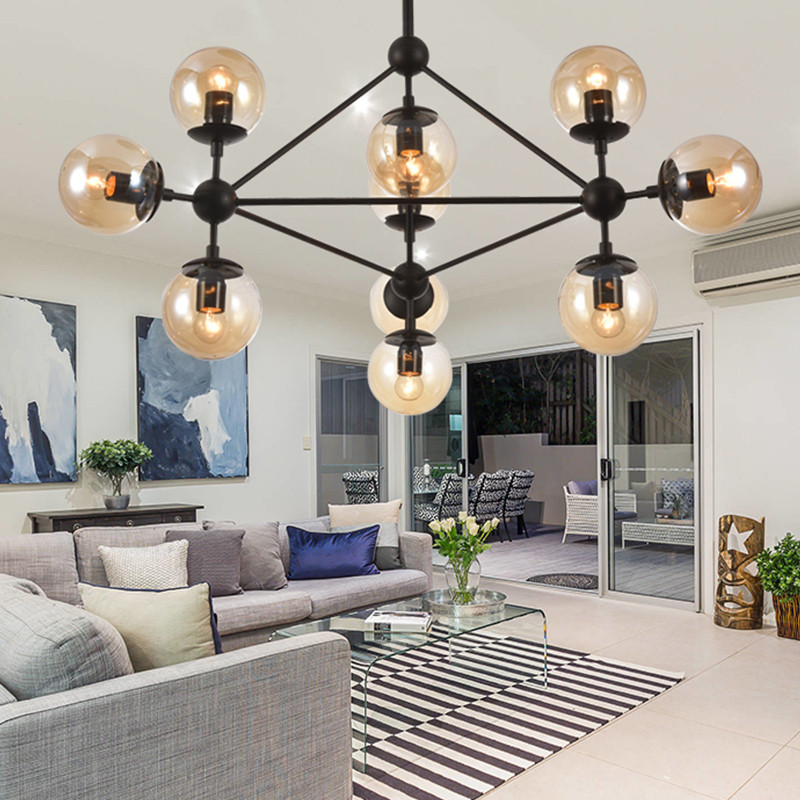 设计北欧多头个性创意客厅灯 服装店玻璃球魔豆枝形吊灯