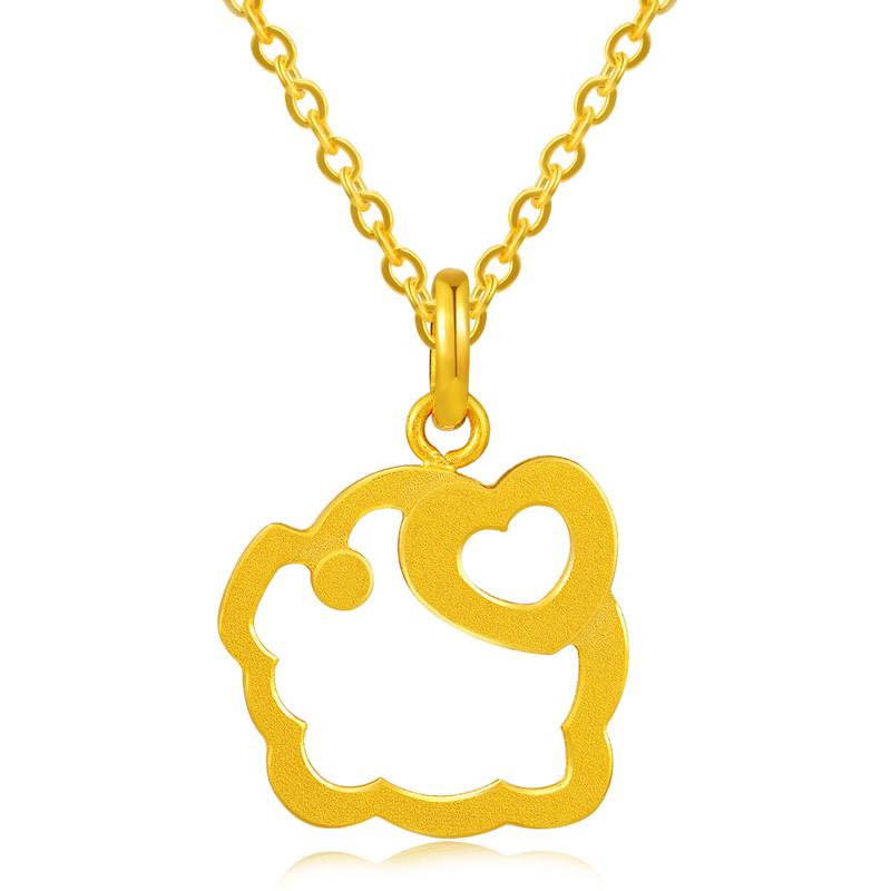 【中国黄金】黄金吊坠十二生肖猪镂空小猪足金吊坠 2018新品 黄金首饰
