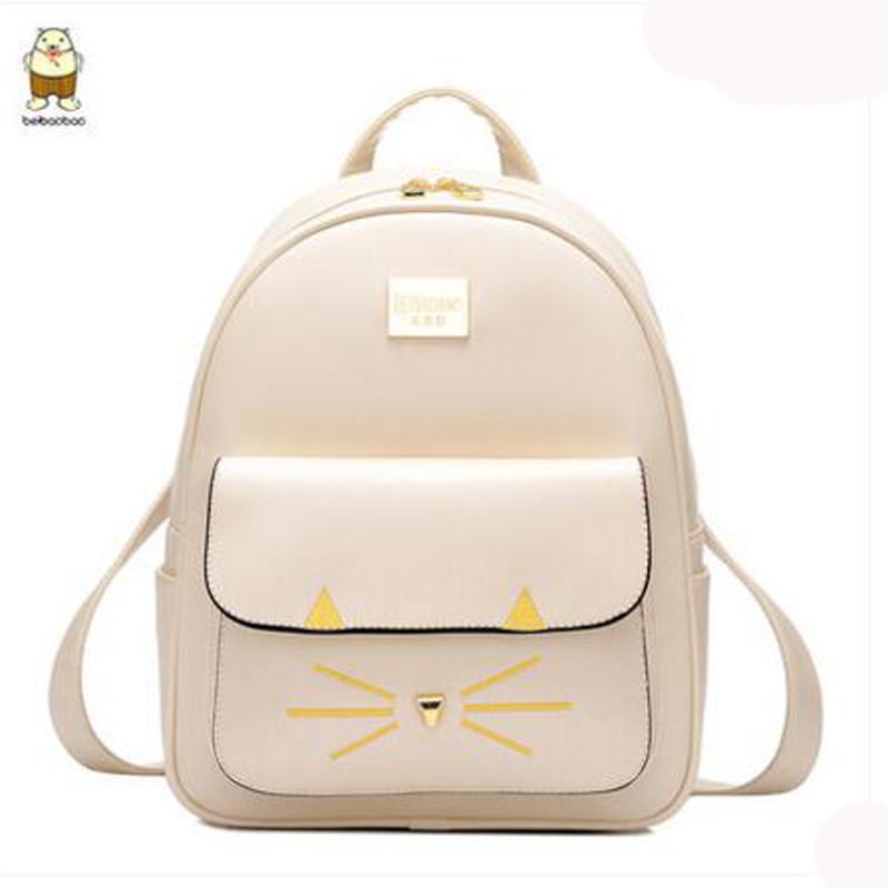 北包包小猫学院风书包女背包韩版pu皮旅行包休闲双肩包大容量