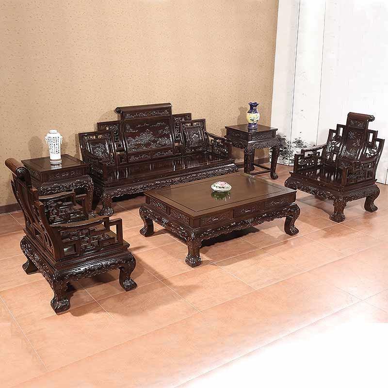 红木家具红木沙发六件套实木客厅组合中式明清古典黑檀木