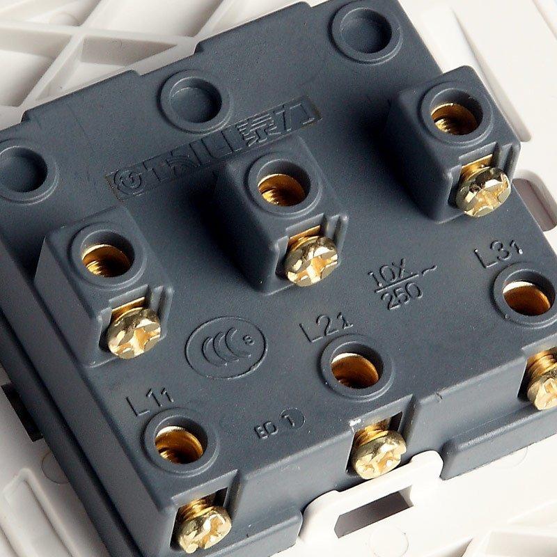 泰力开关插座86型gc系列象牙白色三开单控开关墙壁开关面板