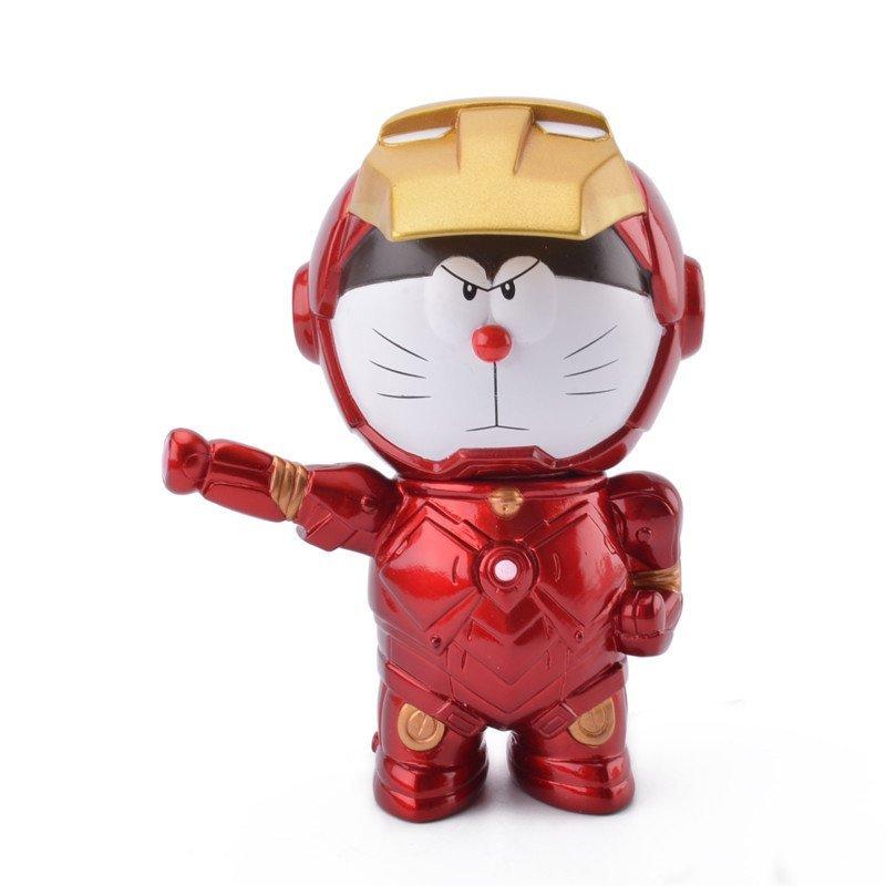 机器猫哆啦a梦手办叮当猫公仔纪念q版玩偶摆件玩具 钢铁侠储蓄罐15cm