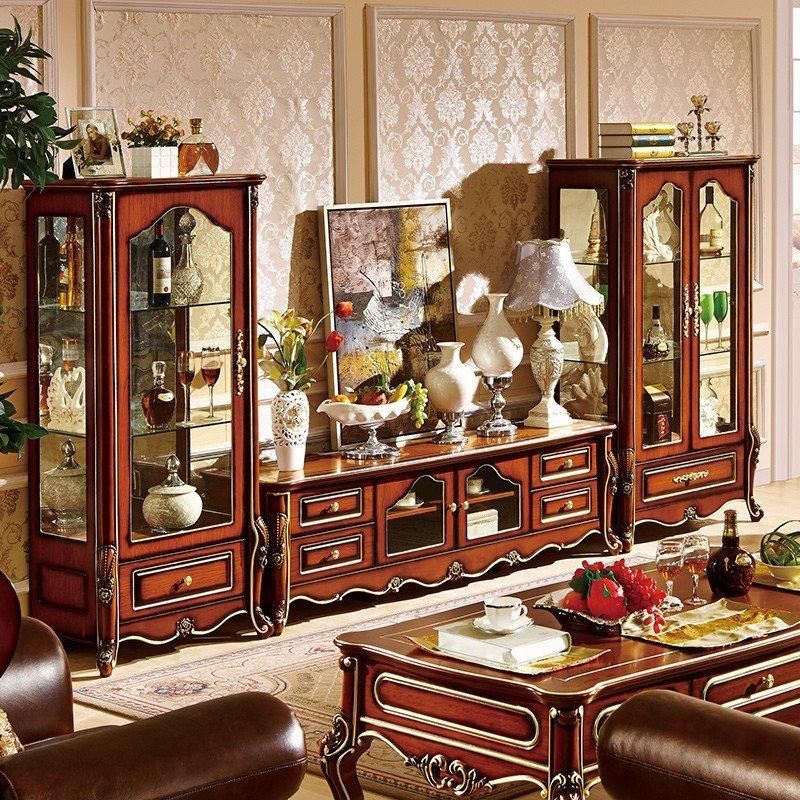 欧式酒柜电视柜组合 新古典新色实木质单双门玻璃