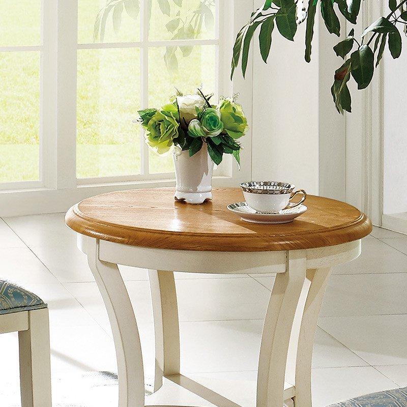 法丽娜 美式小圆桌实木圆几田园小茶桌圆形茶几休闲桌椅组合a89