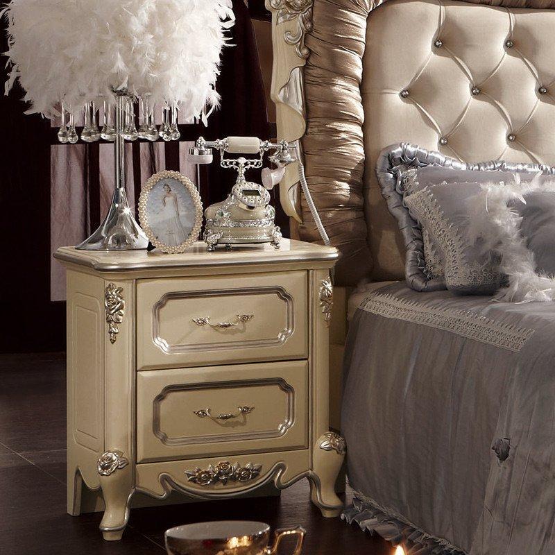 法莉娜 法式床头柜 实木床边柜子 欧式储物柜田园 卧室家具套 h12