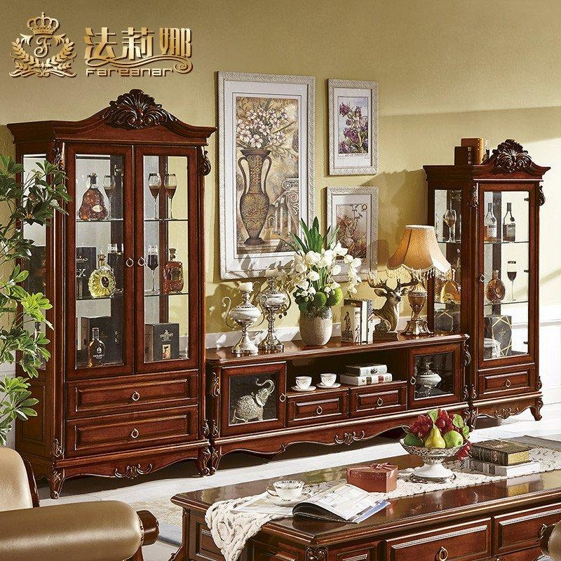 欧式酒柜 美式实木单双门酒柜电视柜组合