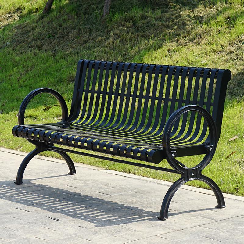 【京好】公园长条椅 室外庭院铁制加厚铸铁双人休息排椅长椅h66