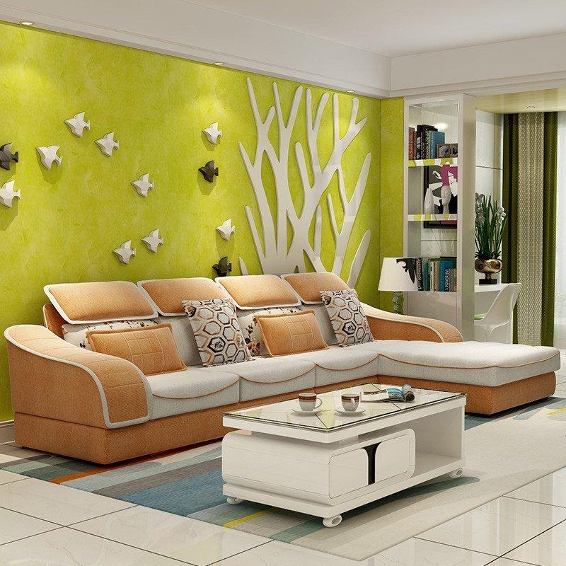 现代简约布艺沙发多功能沙发彩色沙发组合 小户型客厅图片