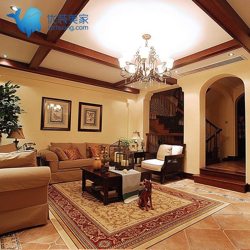 优装美家 室内装修设计效果图施工图/电视墙美式乡村风 -新锐设计师图片