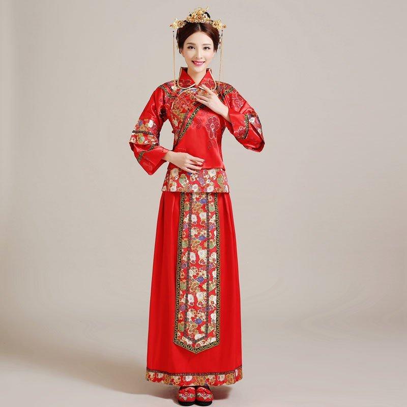 中式婚礼服装是什么样子的 旗袍是吗图片