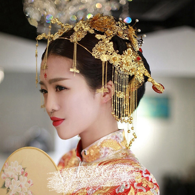 时光叙 新娘古装头饰中式复古凤冠结婚饰品秀禾服龙凤