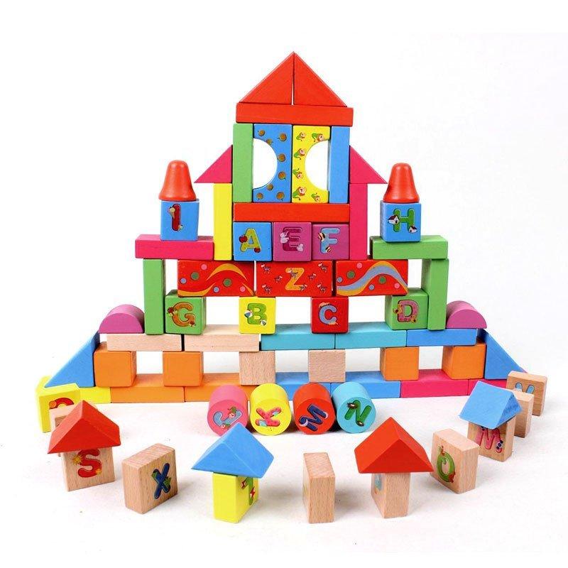 木丸子儿童木制积木50粒英文字母积木拼搭积木木质积木儿童玩具