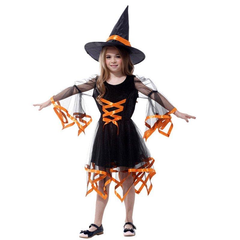 万圣节儿童服装女童化妆舞会服饰衣服女巫服装带缎带小女巫婆裙子 有m