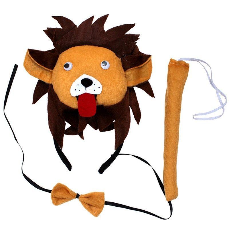 欢乐派对动物三件套新年儿童表演头饰道具狮子头箍狮子头饰领结尾巴三