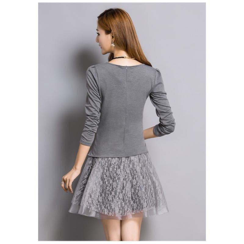 秋装新款时尚裙套装长袖针织棉上衣 欧根纱短裙两件套