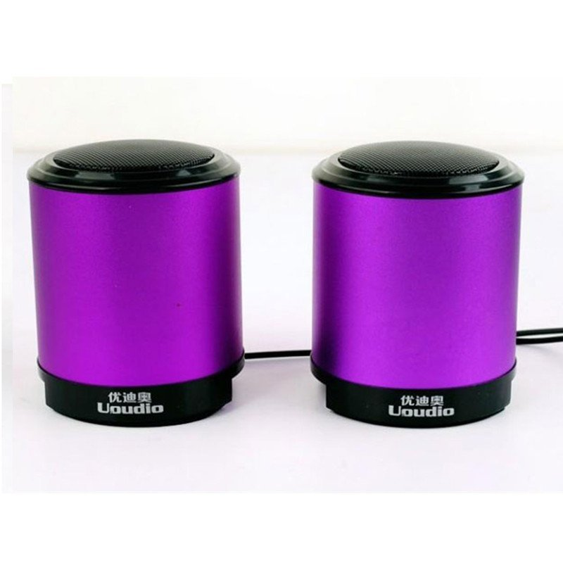 优迪奥 t32 迷你脑小音箱 usb低音炮 笔记本台式机金属音响 紫色