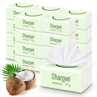 喜朗 椰果本色抽紙3層112抽24包 整箱裝 纖柔抽取式面巾紙