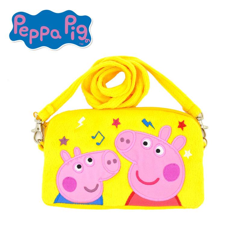 小猪佩奇刺绣斜跨包粉红猪小妹佩佩猪女孩可爱卡通儿童斜跨包手挽包19