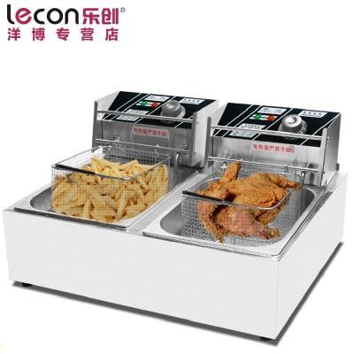 lecon/樂創洋博 電炸爐 12L不銹鋼油炸鍋商用 雙缸電炸鍋 油條炸機薯塔機 炸薯條油炸爐