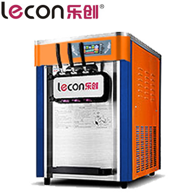lecon/乐创洋博 台式冰淇淋机商用 雪糕圣代机甜筒 冰激凌机冰激淋机 全自动不锈钢 橙色