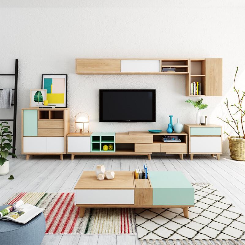 华纳斯 电视柜 北欧撞色彩色茶几电视柜组合图片