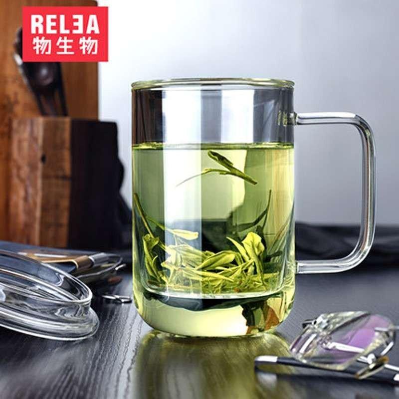 物生物君子杯创意玻璃杯 带盖透明办公过滤茶杯男士水杯 君子杯