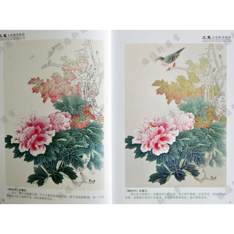 苗占均绘 牡丹工笔画花卉画国画技法 16开 绘画教材画法步骤 天津人民