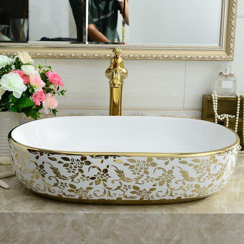 泓派卫浴金色洗手盆欧式洗面盆艺术盆陶瓷洗脸盆洗手