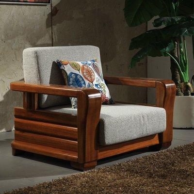 麦涵 现代中式实木沙发1 2 3金丝檀木沙发组合高档布艺木架客厅家具