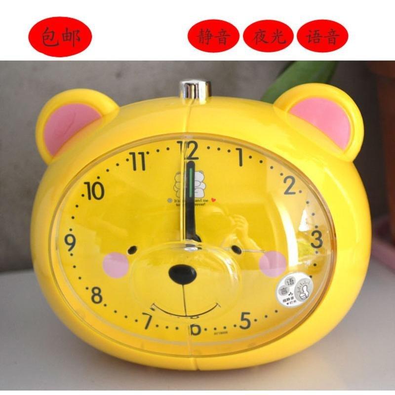 包邮静音带会说话闹钟 学生工艺品礼品 可爱小熊卡通语音闹钟