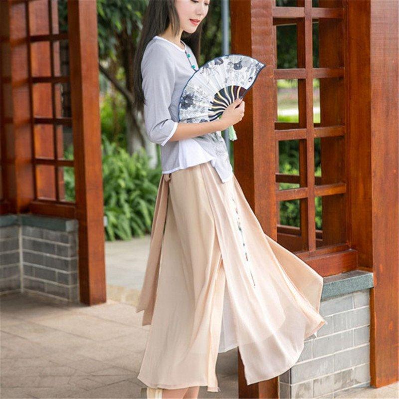 扬姿2016民国风女装长裙中国风手绘印花汉服元素长款半身裙夏装